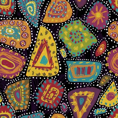 Motley tribal seamless pattern in aboriginal style
