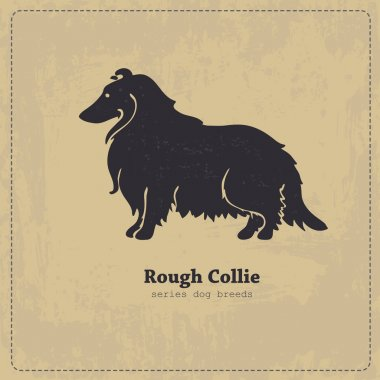Rough Collie  dog silhouette