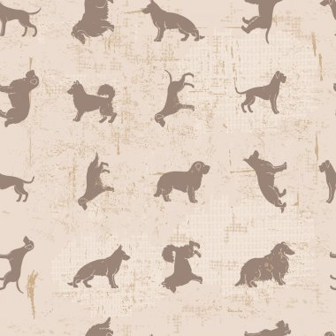 Dog breeds silhouettes  vintage shabby seamless pattern
