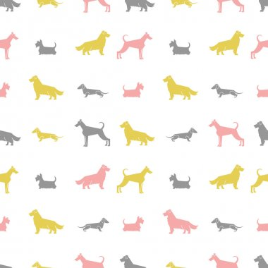 Stylized dog breeds silhouettes  seamless pattern