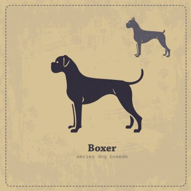 Boxer dog silhouette vintage poster