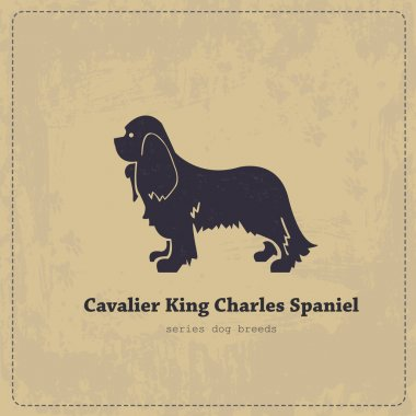 Cavalier King Charles Spaniel  silhouette vintage poster