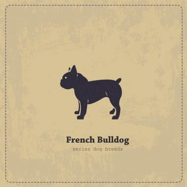 French Bulldog silhouette vintage poster