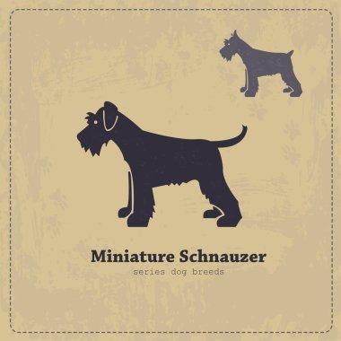 Miniature Schnauzer silhouette vintage poster