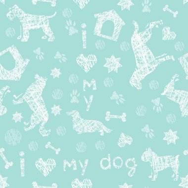 Dog breeds fresh  blue and white seamless pattern