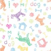 Fotografia Dogs  light seamless pattern