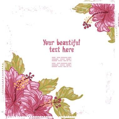 Hibiscus flowers retro card