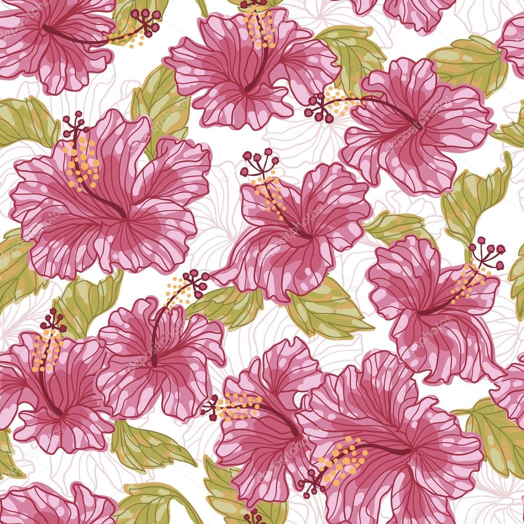 Hibiscus Flowers Fresh Seamless Pattern Stock Vector Annareichel