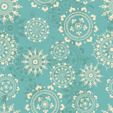 Blue snowflakes  shabby seamless pattern