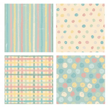 Set of four naive styled seamless patterns in pastel tones. All objects are conveniently grouped and are easily editable. clip art vector