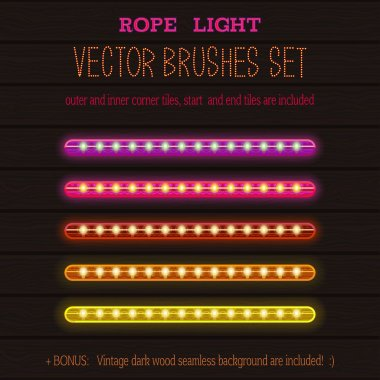 LED Rope Lights style vector pattern brushes set