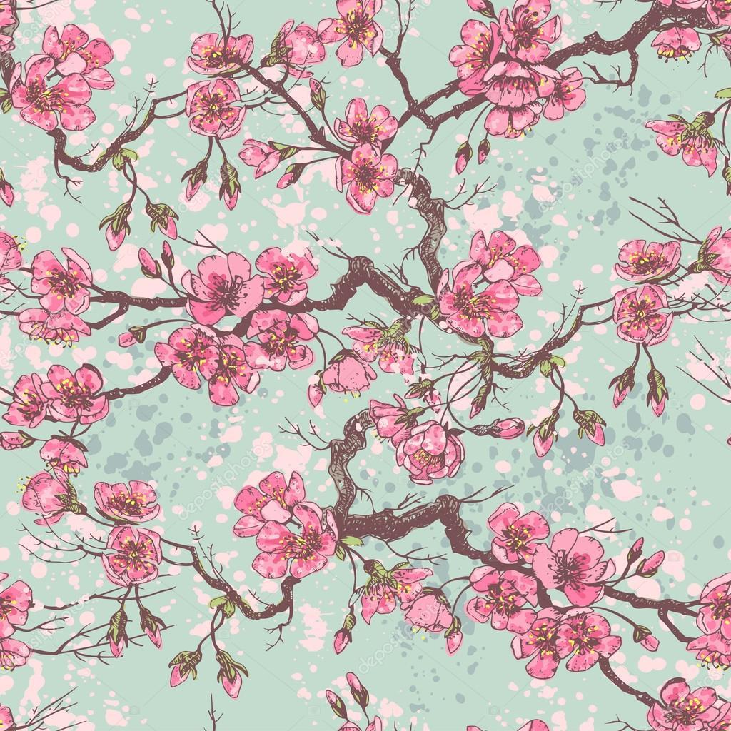 Spring sakura seamless pattern