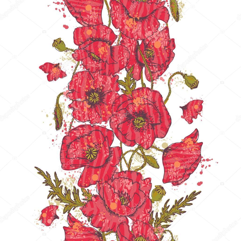 Hand drawn Red poppy flowers seamless border