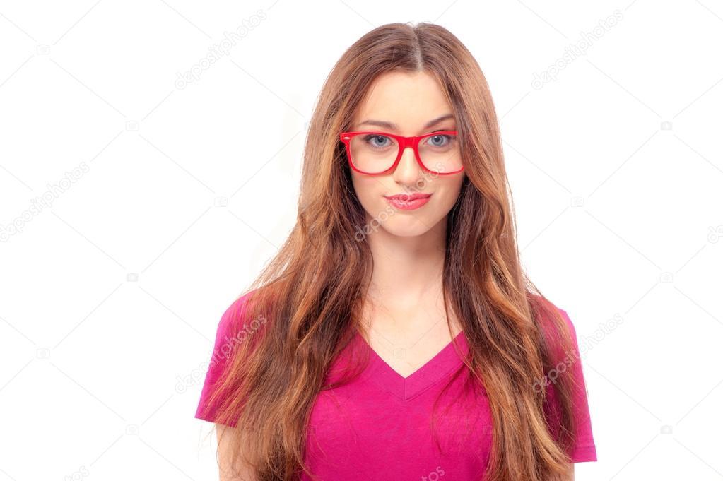 data di rilascio 688e2 9ce6f Donna con occhiali rossi — Foto Stock © luengo_ua #96970450