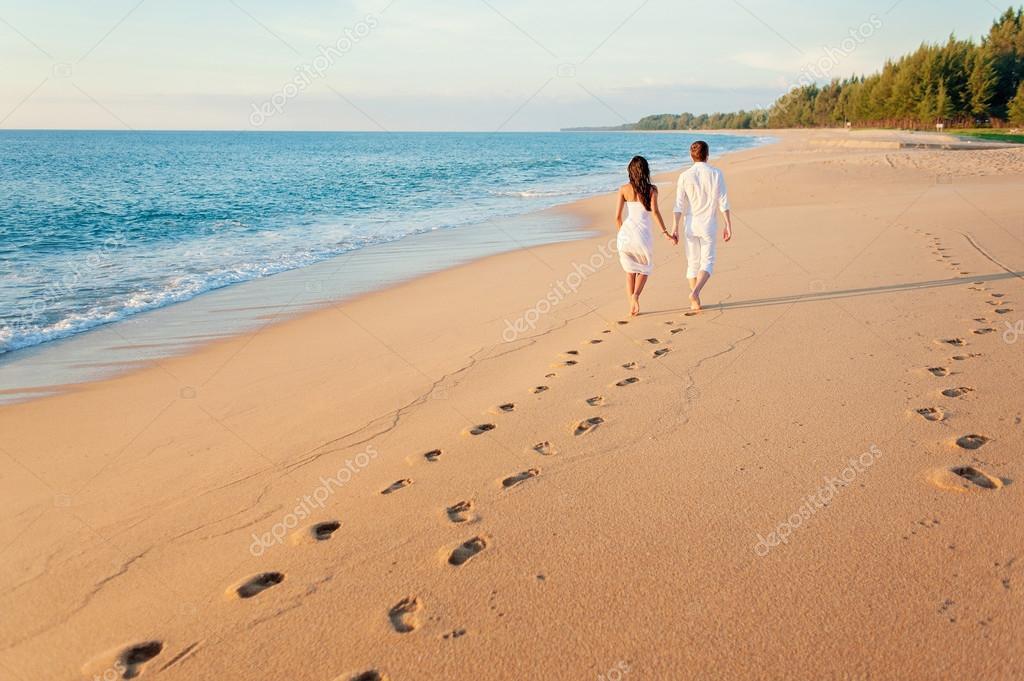 loving couple walking away