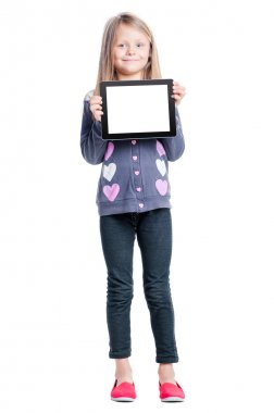 Girl holding tablet computer