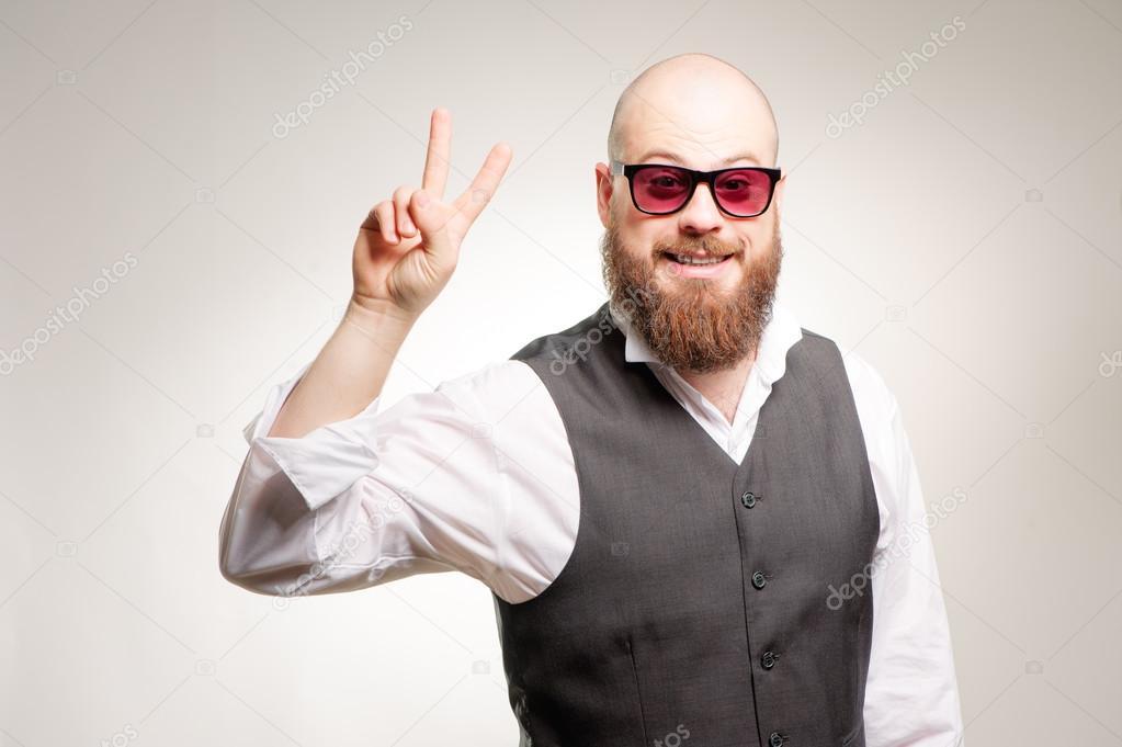 Glatze Mann Mit Langem Bart Stockfoto Luengoua 98131960
