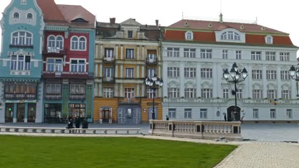 Panoramic footage with historical buildings in Union Square, Timisoara, Romania 1