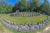 Gradistea de Munte, Romania-September 22, 2020:Ancient dacian sanctuary at the Sarmizegetusa Regia, the capital of the Dacians prior to the wars with the Roman Empire,year 101 AD. Big circular temple.