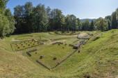 Gradistea de Munte, Hunedoara County, Romania - September 22, 2020: Ancient dacian sanctuary at the Sarmizegetusa Regia, the capital of the Dacians prior to the wars with the Roman Empire,year 101 AD.