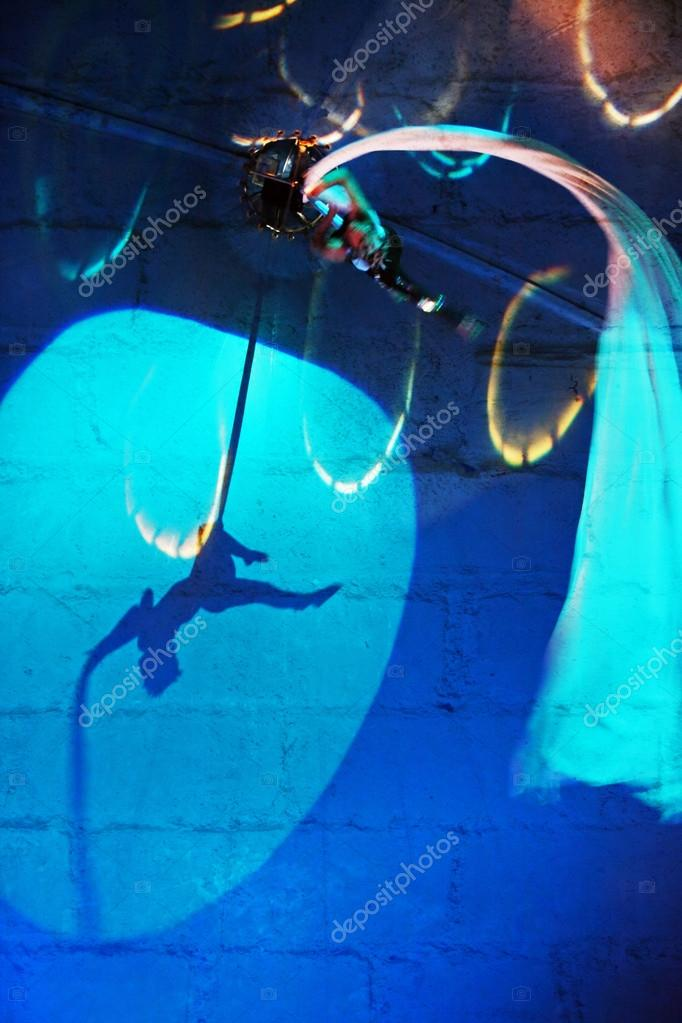 Abstract blue background with acrobat 2
