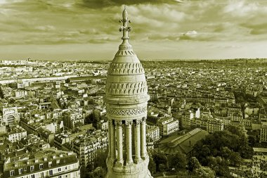Black and white with rooftop and aerial view from Basilica Sacre