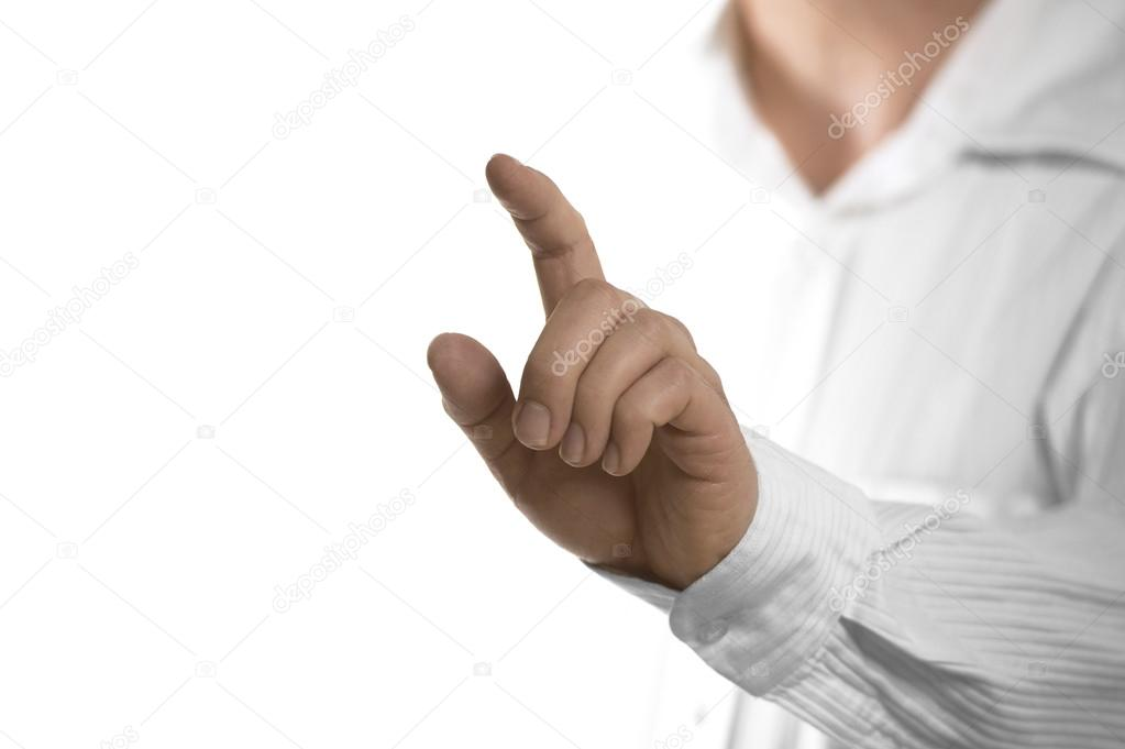 finger touching invisible screen stock photo olivier26 71800193