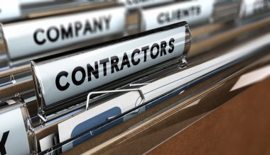 Close up on a file tab with the word contractors, focus on the main word and blur effect. Concept image for illustration of contractors or subcontractors company database. stock vector