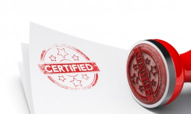 Certified imprint over White Background