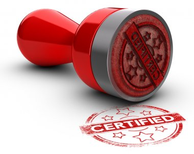 Certified Rubber Stamp over White