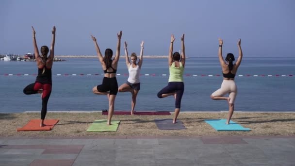Girls do yoga on the beach in tree pose vrikshasan