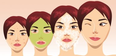 Beautiful woman face in process of acne treatment, vector