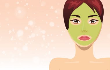 Fresh beautiful woman face with clay mask, vector illustration skin care