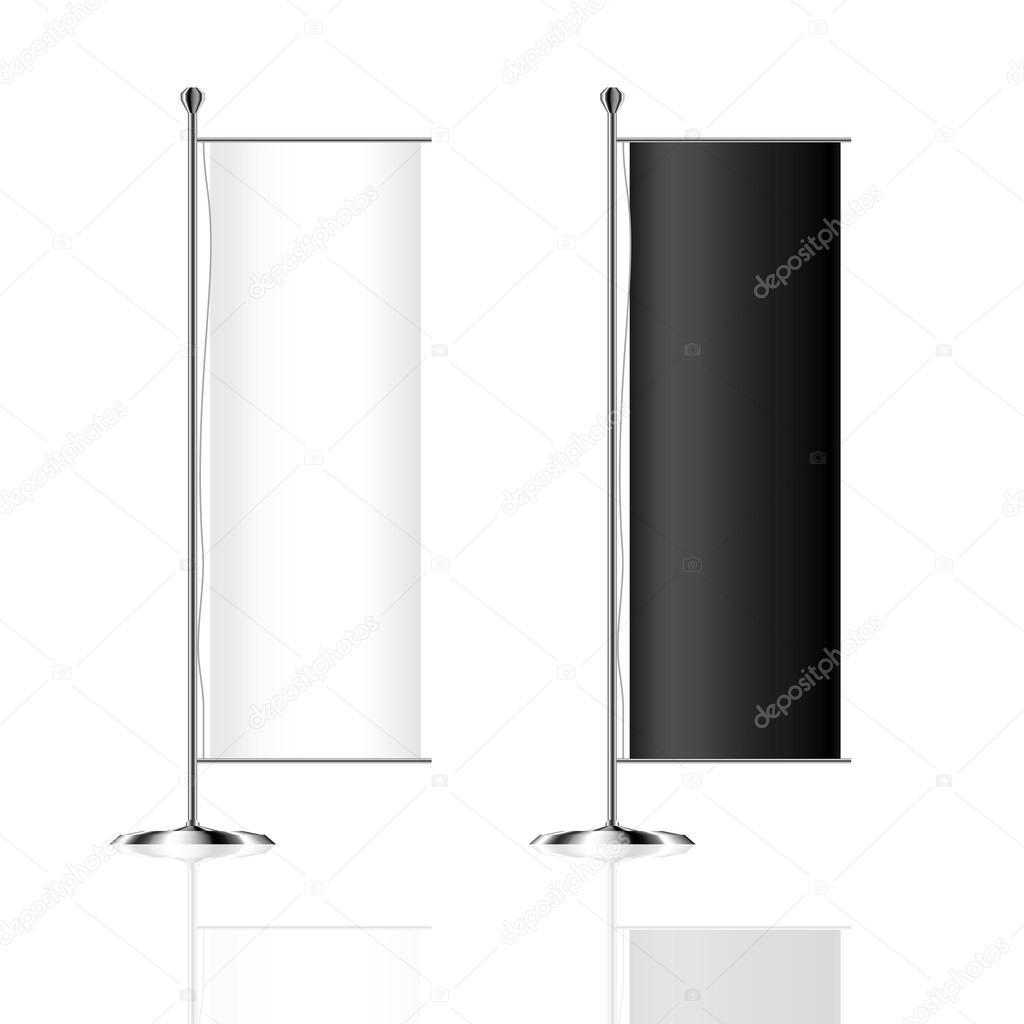 Bandera maqueta en blanco publicidad banderas o carteleras de vector ...