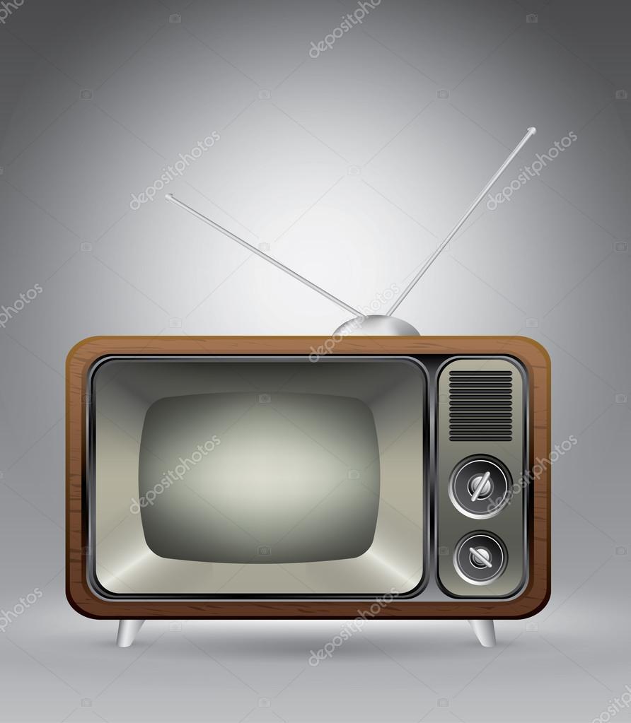 Alte Vintage tv auf grau Vektor Illustration Vorlage für Werbung ...