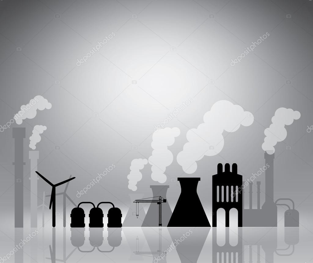 Paisaje industrial en la plantilla de vector gris ilustración para ...
