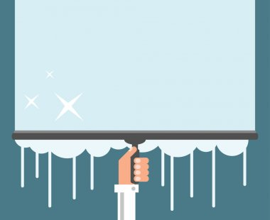 Window cleaning background, flat design vector