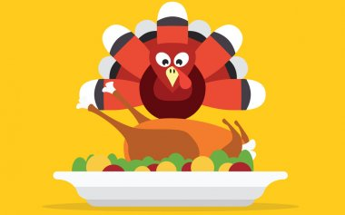 Thanksgiving turkey with dinner vector card