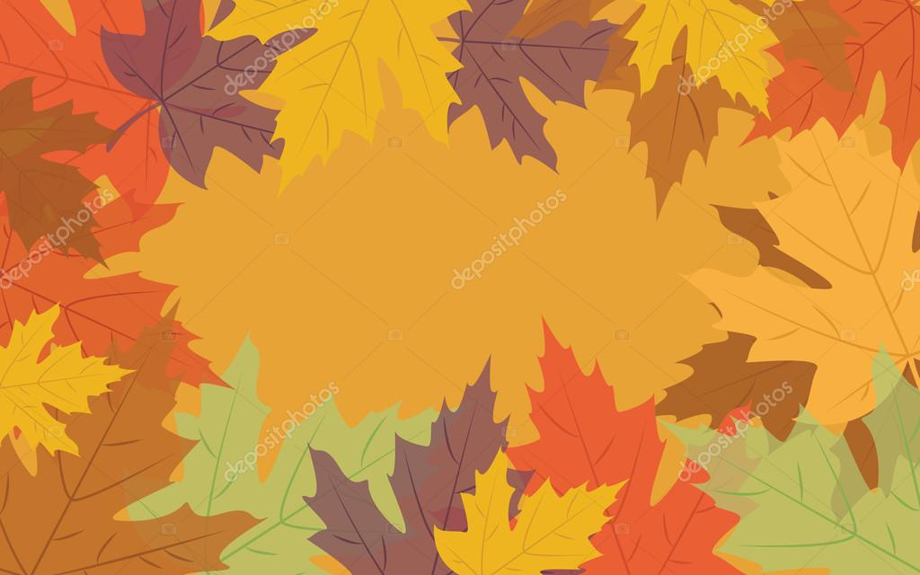 Autumn background with colorful leaves, vector