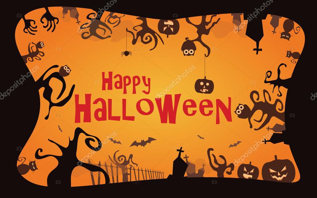 Halloween border background vector illustration — Stock Vector ...