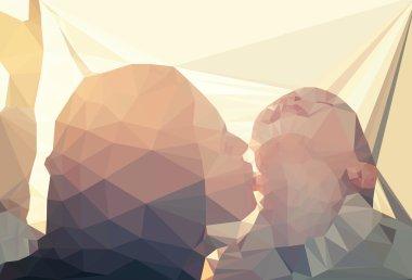Mom and child portrait vector, geometric modern illustration clip art vector