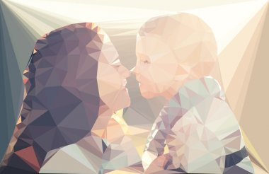 Mom and child portrait vector geometric illustration