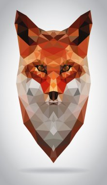 Fox head vector isolated geometric modern illustration