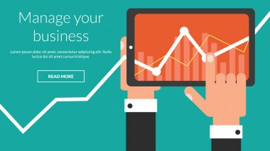 Business tablet with stock chart as a app. Vector online advertising