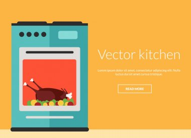 Kitchen oven with roast chicken vector illustration