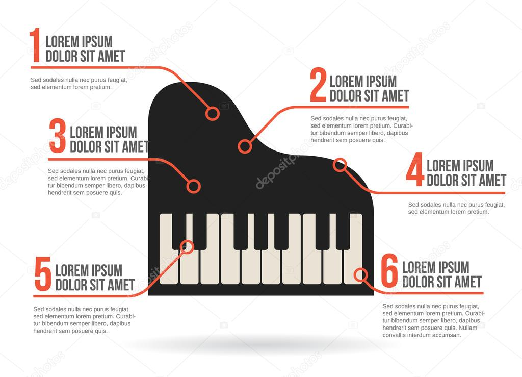 Piano keyboard icon vector infographic