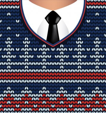 Jacquard knitted sweater and white shirt with tie