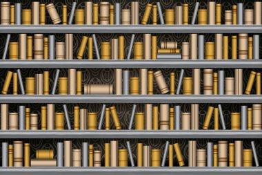 Library bookshelf, seamless vector illustration