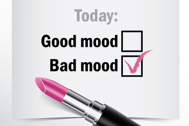 Tick box with lipstick, good or bad mood concept of woman choice