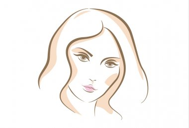 Sketch portrait of woman face, vector